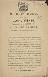 Advert For M. Criscuolo, Coral Fisher